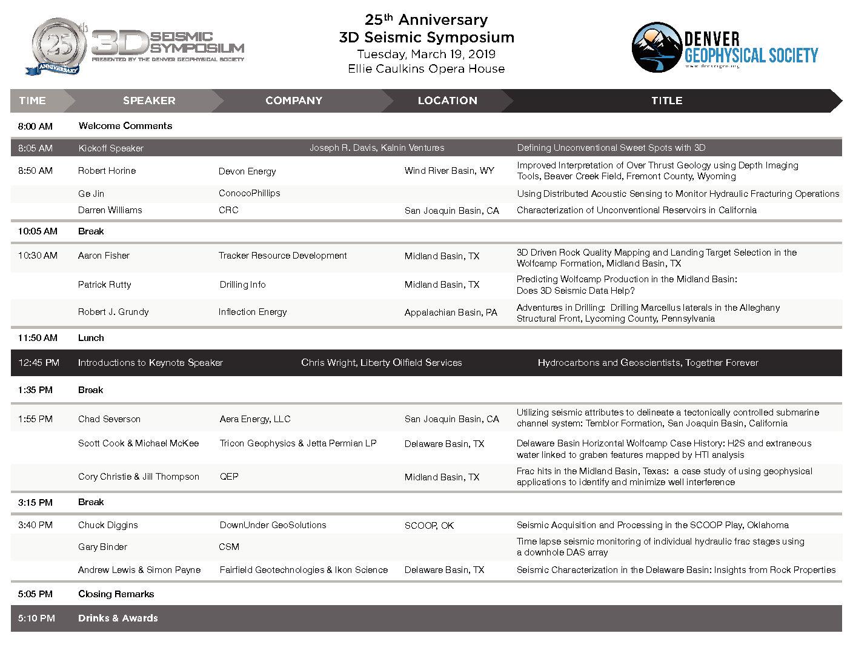 25th Annual 3D Seismic Symposium – Denver Geophysical Society
